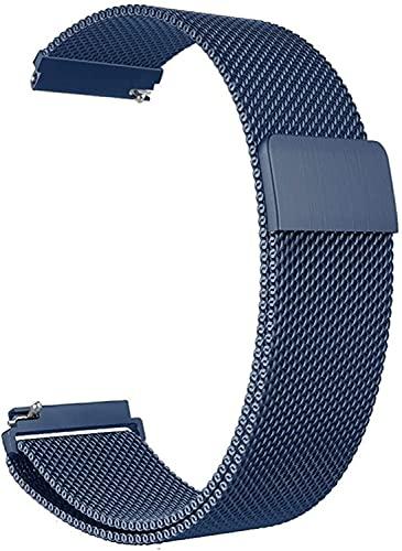Niboow 20mm Correa Compatible con Samsung Galaxy Watch 4 40mm, Ajustable Correa, Magnética Pulsera Acero Inoxidabl, Para Samsung Galaxy Watch 42mm/Active 2 (40 mm/44 mm)/Samsung Gear Sport-Azul.