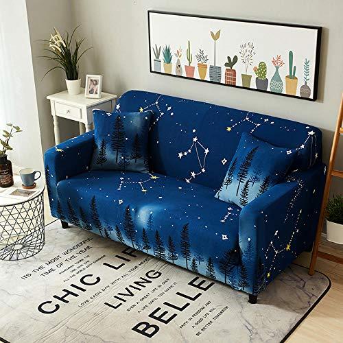 WPHRL Elastischer Sofa-Überwürfe Sternenhimmel blau Antirutsch Stretch Sofaüberzug 3 Sitzer,Sofahusse Sofabezug Sofa Abdeckung Hussen für Sofa Couch Sessel in Verschiedene Größe und Farbe 195-230cm