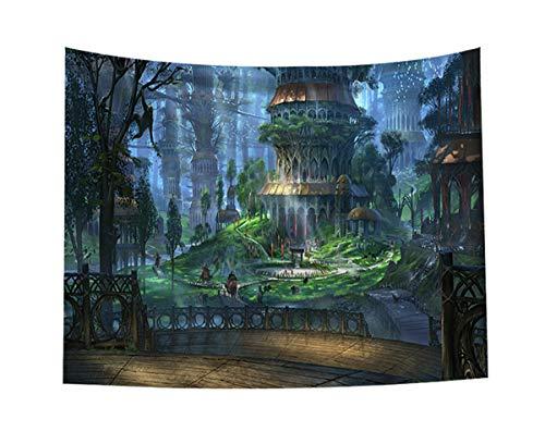 Fantasie-Märchenhafte Welt Wald Wandteppich Magische Wald Burg Wandbehang Psychedelische Wandteppiche für Schlafzimmer Wohnzimmer Wohnheim Dekor