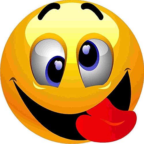 kleberio Aufkleber Emoji Smiley lachend Zunge rausstrecken Sticker Auto Motorrad Caravan wetterfest 10 x 10 cm
