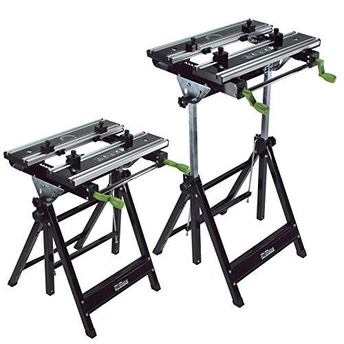 Profi Werkbank Premium klappbar höhenverstellbar Metall Werktisch Alu Spanntisch ideal für Werkstatt, Garage oder den mobilen Einsatz