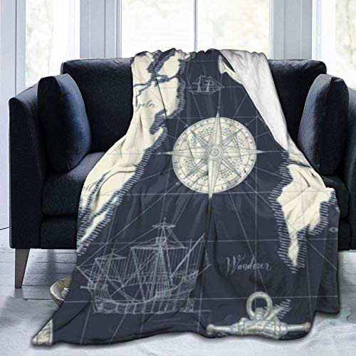 Manta Direction Caravel Traveler Discovery Treasure Abstracto Rueda en velero Retro Old Ultra Suave Manta de microforro polar cálida para adulto niño manta de viaje 132 x 101 cm ✅