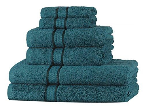 Set asciugamani morbidi Sweet Needle Super Soft 6 pezzi Teal, 100% cotone, peso pesante con rifiniture in rayon - 2 grandi asciugamani da bagno 70x140, 2 asciugamani 50x90, 2 salviette 30x30 CM