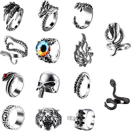CASSIECA 14 Stück Vintage Punk Ringe für Herren Männer Gothic Ring Set Drachenklauen Ring Octopus Ring Cobra Ring Schlangen Ringe Schädel Ring Snake Ring Slytherin Ring Öffnung Ringe Verstellbar