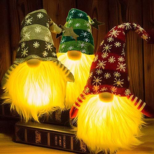 Husang Beleuchteter Weihnachtswichtel, Weihnachtsmann, beleuchtet, Elfe, Spielzeug, Weihnachtsgeschenk, batteriebetrieben, 3 Sets(15 Zoll)