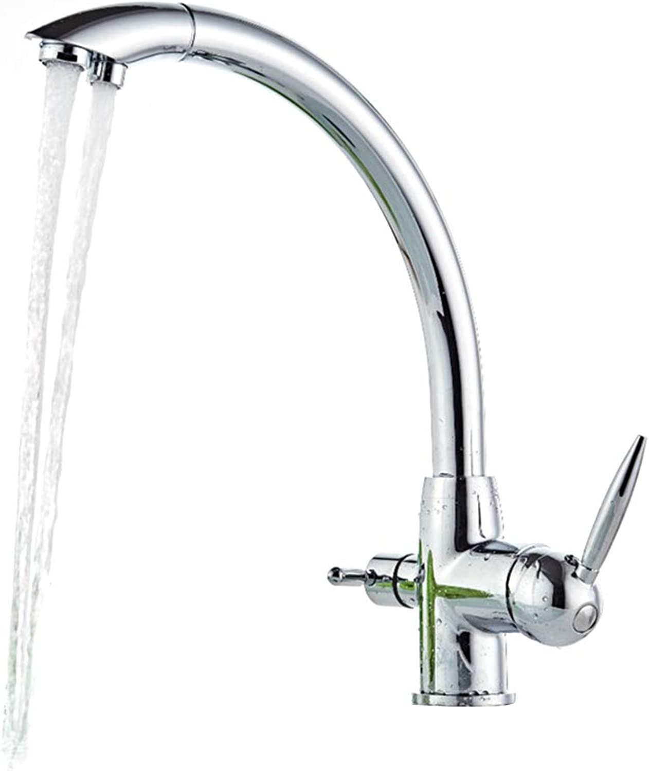 Kitchen Sink Faucet-360 Degree Swivel Modern Hot& Cold Mixer Two-Handle Single Hole Two Outlets Faucet, Easy Inssizetion Kitchen Taps,Chrome