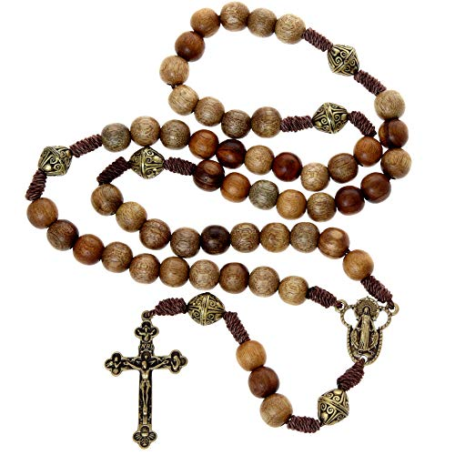 Wooden Our Father Rosary Beads - Handmade wooden and metal rosaries with crucifix in a rosary pouch. These rosaries make a great Catholic or Christian gift