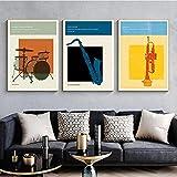 Carteles e impresiones musicales de conciertos retro Instrumento musical Lienzo abstracto Pintura Arte de la pared Imagen Sala de estar Decoración de la pared del hogar 50x70cmx3 Sin marco