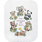 Dimensions Stamped Cross Stitch 'Tiny Treasures' DIY Baby Quilt Kit, 34' x 43'