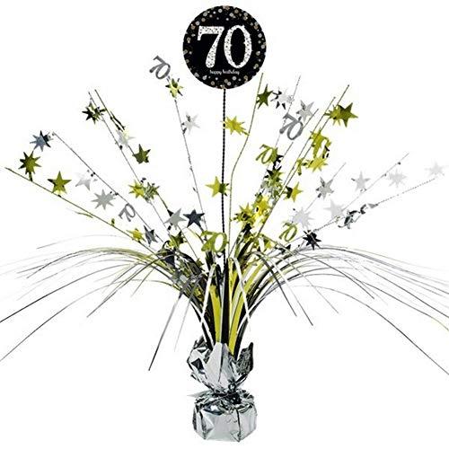 Feste Feiern Tischdeko zum 70. Geburtstag I 46cm Tischaufsteller Kaskade Tischaufsatz Zahl 70 Gold Schwarz Silber metallic Party Deko Set happy birthday 70 (1.KA-70g)