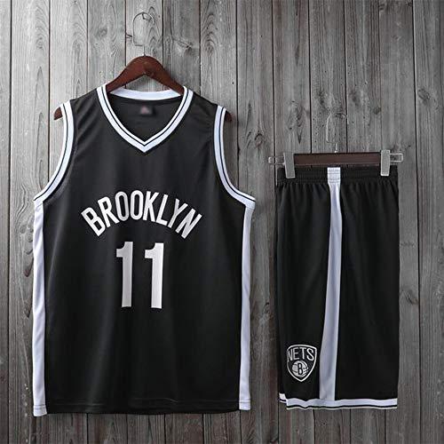 YZQ Trajes De Baloncesto para Niños, Brooklyn Nets # 11 Kyrie Irving Camisetas De Baloncesto De La NBA Suelta Chaleco Casual Tops Deportes Camisetas + Pantalones Cortos,Negro,L(Child) 135~145CM