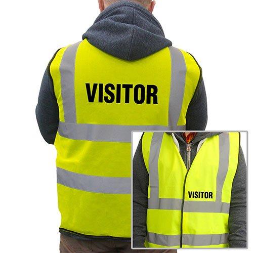 Supreme bedrukte bezoeker Hi-VIS hoge zichtbaarheid veiligheidsvest vest vest vest - geel - extra groot