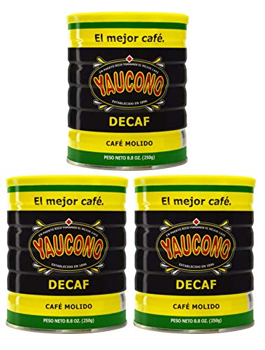 Yaucono Decaf Ground Coffee 8.8 Ounce Canister (Pack of 3)