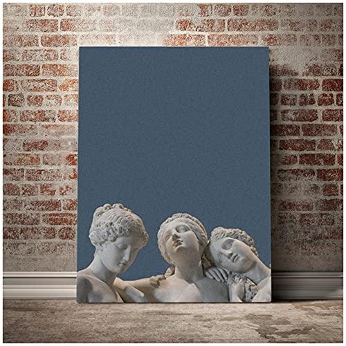 Estatua griega estética arte lienzo pintura póster cuadro modular hogar para sala de estar dormitorio estudio decoración de pared con marco regalo-60x80 cm x1 sin marco