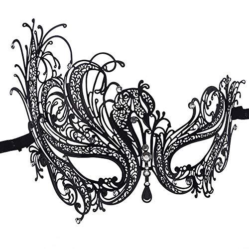 Women Venetian Rhinestone Thin Metal Mask Halloween Sexy Lace Mask for Fancy Dress Party Wedding Carnival Venetian Carnival and Dance Black