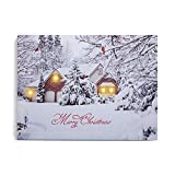 NIKKY HOME 16' x 12' Merry Christmas LED Lighted Canvas Wall Art Prints with Cardinal Tree Picture Snow Covered Winter Scene for Holiday Decor, White Snowy House