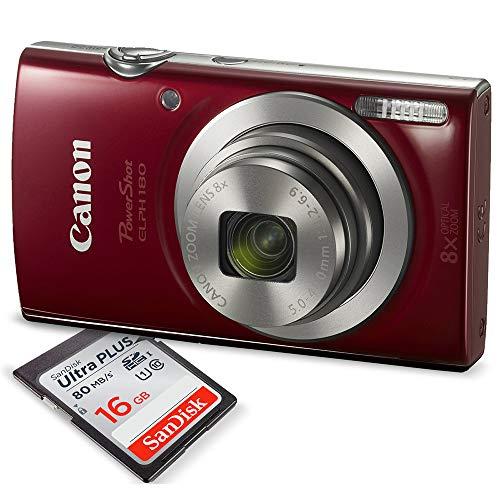 Canon PowerShot ELPH 180 Digital Camera (Red) +...