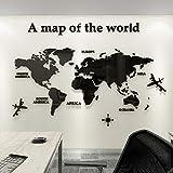Adesivo da Parete Mappa Del Mondo 3D Rimovibile Mappa Adesivi Murali Fai da te Arts Wall Sticker...