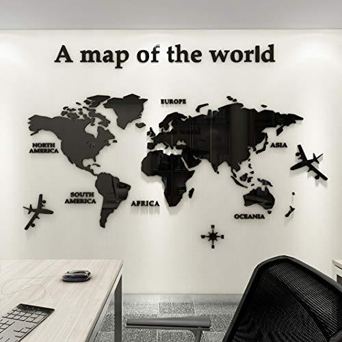 Adesivo da Parete Mappa Del Mondo 3D Rimovibile Mappa Adesivi Murali Fai da te Arts Wall Sticker Decorativi per Soggiorno, TV Par, Camera da Letto, Asili Nido, Ufficio, Bambini Stanze (Nero,L)