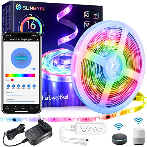 SUNGYIN LED Strip DreamColor 5M RGBIC Smart Farbwechsel Musik Streifen Lichterkette mit Wifi Kontroller und APP/Alexa/Google Wasserdichte IP65 für Zuhause, Küche, Schrankdeko
