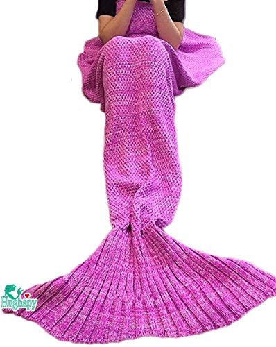 Hughapy Christmas Soft Mermaid Tail Blanket Handmade Living Room Sleeping Blanket for Kids Adult...
