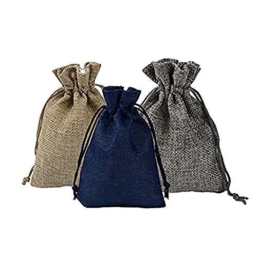 MXJEEIO- Acerca de 24 pcs Bolsa de Lino con Cordón para Joyería Regalitos Regalos Arroz Boda Bolsas Kit de Manualidades de Calendario navideño Bolsitas de Tela Saco
