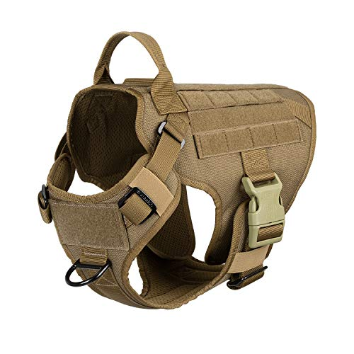 "ICEFANG Lightweighting Tactical Dog Harness with Handle,Working Dog Training Molle Vest,No-Pull Front Leash Clip, Hook and Loop Panel for Dog ID Patch (M(Chest 25""-31""), Coyote Brown)"