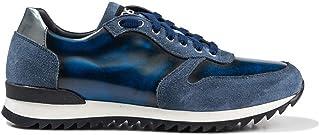 DIS Italo Sneaker Fondo Running in Pelle abrasivata Scamosciata Blu