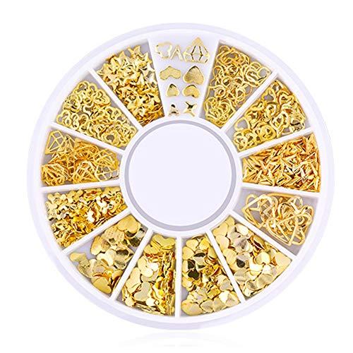 Isuper Schönheit 200 Conteo / 3D Pack Mini-Nägel Mode aus der Serie in Herzform für Heimwerker Nägel Dekoration Kunst für Schönheit Stud Stickers Glitter Metall mit Charme Nail Supplies