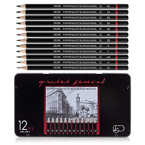 12 Stück Skizzen-Set,Zeichnen Set Bleistift,Professionelles Zeichnen Bleistifte,Zeichnen Graphite Set,Professionelle Bleistifte,Zeichenstifte, Bleistift für Künstler,Skizze Bleistift Set