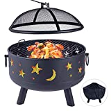 Wood Burning Fire Pit Outdoor Patio Campfire Backyard Fireplace,Round Steel Deep Bowl Fire Pit,24 inch