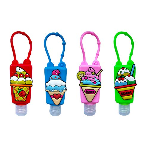 4Pcs Cartoon Kids Empty Travel Bottles Hand Sanitizer Holder with Silicone Case Keychain Carrier, Choeeu Leak Proof Refillable Portable Travel Containers for Liquid Soap, Lotion (Ice Cream)