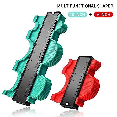 2 Stücke Konturenlehre, TTMOW Konturmesser zur präzisen Messung und Reproduktion komplexer Konturen - geeignet für unregelmäßige Konturen, Fliesen, Laminate uvm(10 Zoll Grün 6 Zoll Rot)