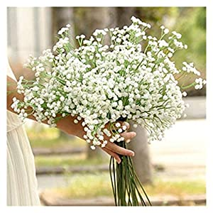 YSQSPWS Artificial Flowers Dried Flowers Decoration Artificial Gypsophila Flower Fake Silk Wedding Party Colorful (Color : White)