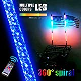 AL4X4 3FT LED Whip Lights 360°Spiraling Rising Dream Wrapped Dancing Whips Bluetooth Controlled with Music Mode for Polaris RZR ATV Antenna Whip UTV Quad Sand Dune Buggy Flag Poles(One Whip)
