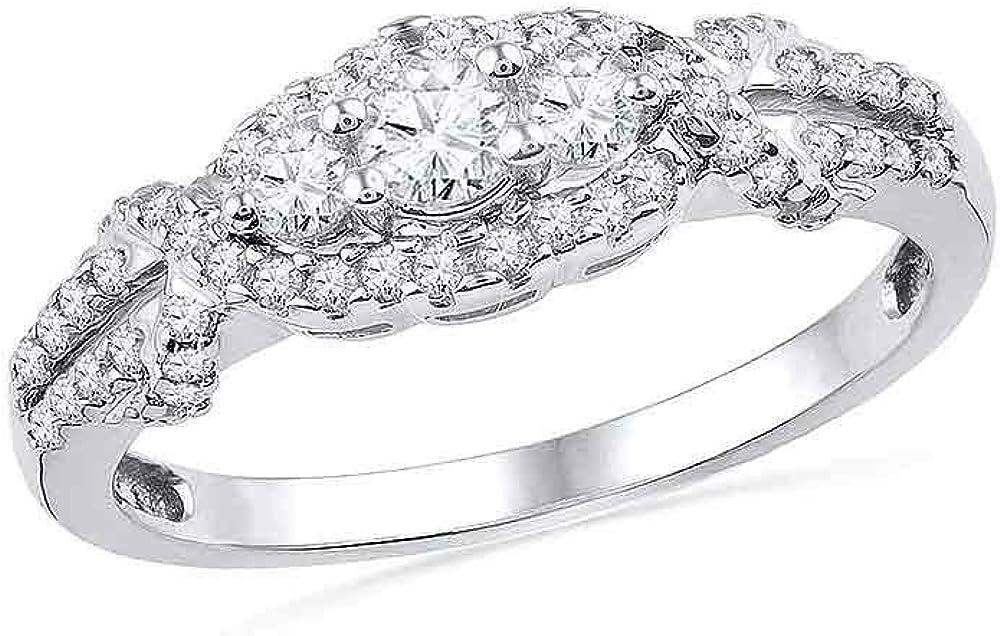 10kt Max 55% OFF Mail order cheap White Gold Round Diamond Engagement 3-stone Bridal Wedding