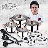 San Ignacio Premium Set de Bateria 8 Piezas + 4 recipientes herméticos + 3 Utensilios de Cocina, Cobre