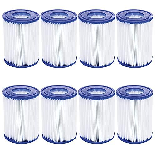 WuYan Paquete de 8 filtros de piscina compatibles con Bestway Cartridge II, filtro de repuesto compatible con bomba de filtro Lay Z Spa
