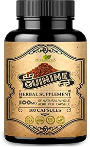 HERBALICIOUS Quinine Capsules - Cinchona Officinalis Bark Herbal Supplement for Leg Cramping Relief, Cramp Defense and Overall Digestive Health - All-Natural Quinine Sulfate Pills, 500mg, 100 Tablets