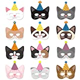 12 Packs Cat Kitten Party Masks with Party Hats Halloween Kitten Masks for Kids Kitty Cat Birthday Party Costumes Dress-Up Party Supplies