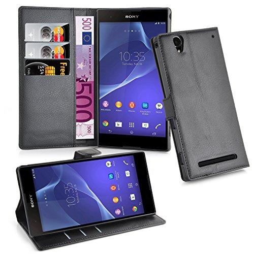 Cadorabo Hülle für Sony Xperia T2 - Hülle in Phantom SCHWARZ – Handyhülle mit 3 Kartenfächern - Hülle Cover Schutzhülle Etui Tasche Book Klapp Style