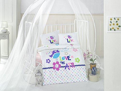 Happy Birds Violet Lit pour bébé Housse de couette, 100% coton doux et Sain Parure de lit 4 pièces