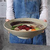 JIEJIEキッチン用品 日本のレトロセラミック大きなボウル12インチのフルーツサラダボウル大容量ラーメンボウルレトロホームスープボウル