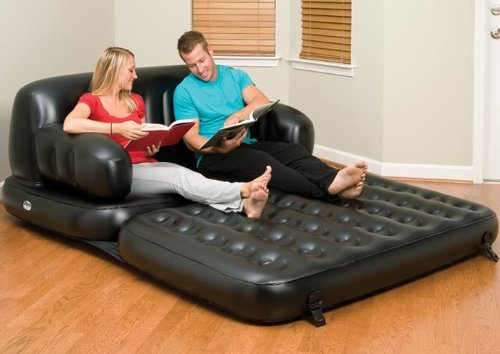 Pure Comfort 5 in 1 Queen Size Air Mattress Bed Waterproof & Durable Comfort Coil Beam Construction, Free Electric Pump Included