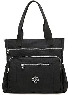 ZIIPOR Women's Multi Pocket Large Nylon Handbag Shoulder Bag Big Shopping Bag Tote