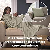Silentnight Snugsie Wearable Blanket - Soft Teddy Fleece Blanket with Sleeves - 2-in-1 Sleeved blanket and Cushion - Supersized with Foot Pocket