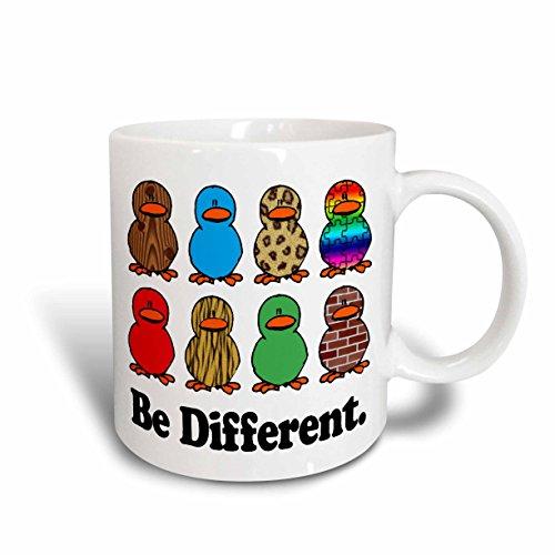 3dRose Mug en céramique avec motif canards mignons Be Different Blanc 11,43 x 8,45 x 12,7 cm
