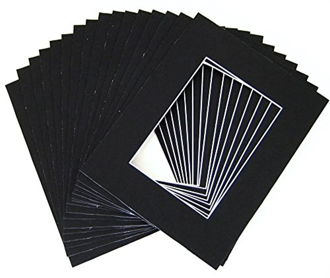 Golden State Art, Pack of 10 8x10 BLACK Picture Mats with White Core Bevel Cut for 5x7 Pictures