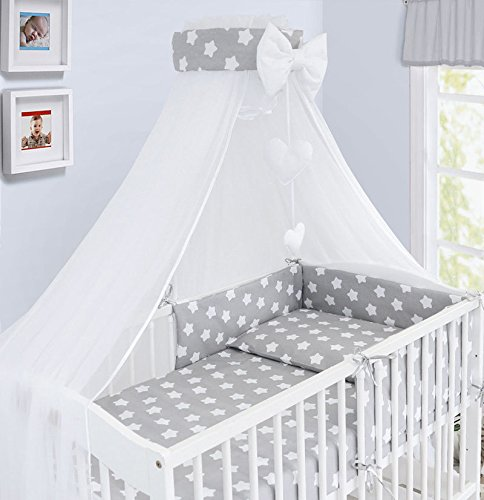 Luxury 10Pcs Baby Bedding Set COT Pillow Duvet Cover Bumper Canopy to Fit Cot Size 120x60cm 100% Cotton (Big White Stars on Grey Background)
