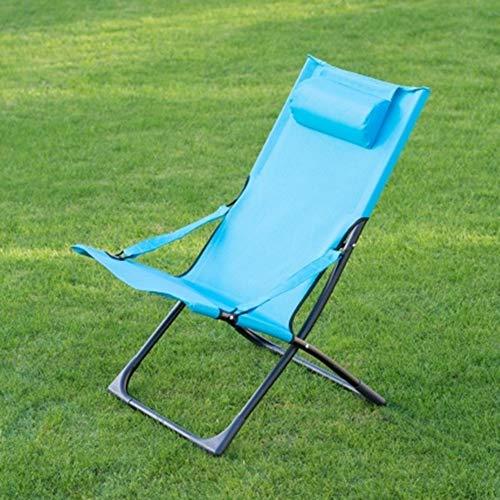 Scotrade G19 Tropic Garden Relaxer Deck Textilene Fabric Coloured Chair Built-in Pillow - Blue